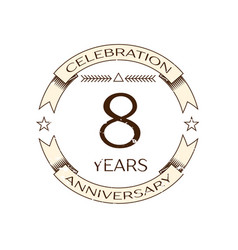 realistic eight years anniversary celebration logo vector image vector image