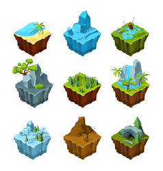 rock fantasy islands for computer games isometric vector image