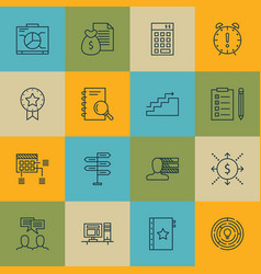 Set of 16 project management icons includes board vector