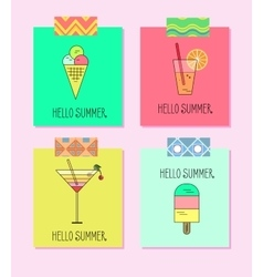 Set of bright cards with lemonade ice vector
