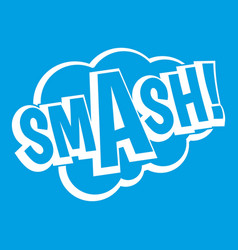 Smash comic book bubble text icon white vector