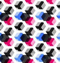 Technology cubes seamless pattern with grunge vector