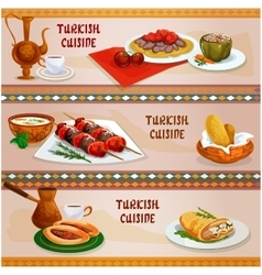 Turkish cuisine meat dishes banner for menu design vector