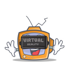 Tv character cartoon object with virtual reality vector