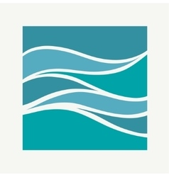 Water Wave Logo abstract design Square aqua icon vector image