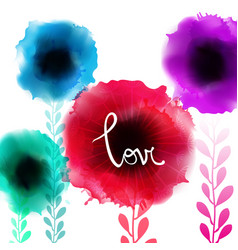 Watercolor romantic blooming poppy flowers vector
