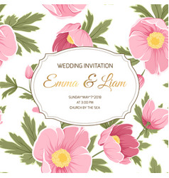 Wedding invitation anemone sakura peony flowers vector