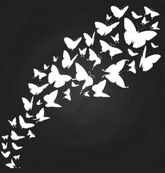 White butterflies silhouettes on chalkboard vector