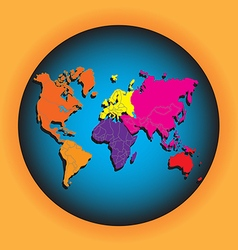 World map with globes vector image vector image