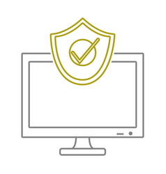 Yellow line screen computer technology with vector