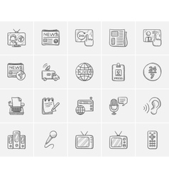 Media sketch icon set vector