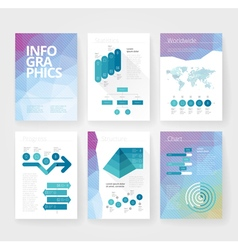 infographics brochure blue poly world vector image