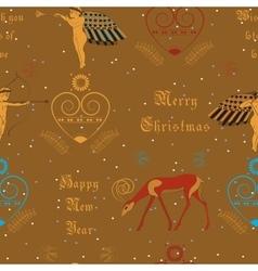 Christmas golden angels festive seamless pattern vector