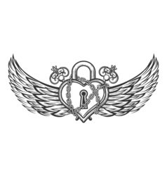Heart shaped lock with wings vector