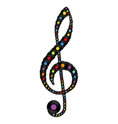 Treble clef consisting of vinyl records vector