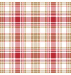 Beige red white check fabric texture seamless vector