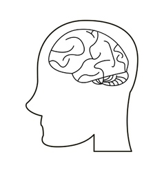 Profile head brain idea imagination outline vector