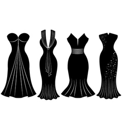 Woman party dress silhouette vector