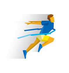 running athlete crosses a finish line ribbon vector image