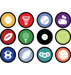 sports buttons coloured vector image