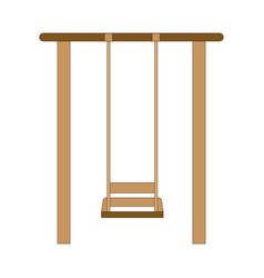 An old wood swing hanged on a tree isolated on vector