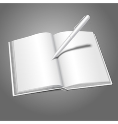 Blank white realistic opened book and pen writing vector