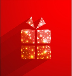 Red gift box made of polygonal and lights effect vector