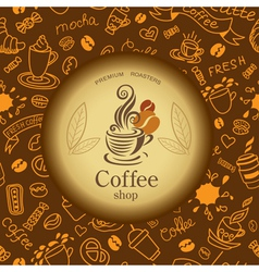 Coffee and tea doodles background vector image
