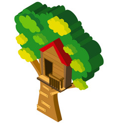 3d design for treehouse on the tree vector