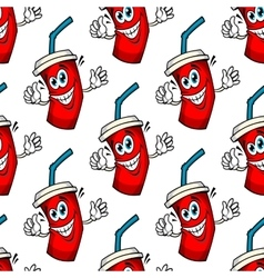 Funny cartoon takeaway soda seamless pattern vector