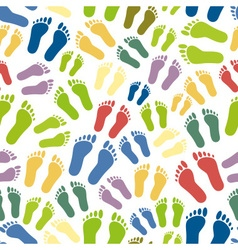 Human colorful footprints simple seamless pattern vector