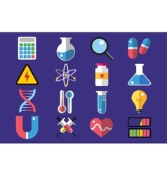 Science lab icons isolated set vector image