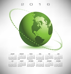 2016 calendar green globe dotted vector image