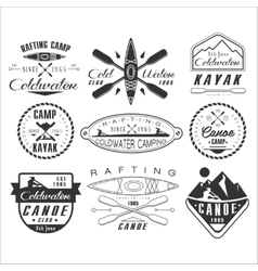 Kayak and canoe emblems badges design elements vector image