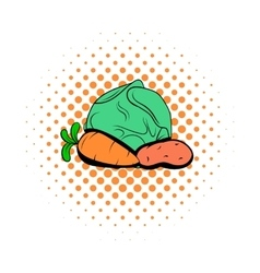 Cabbage carrot potatoe comics icon vector