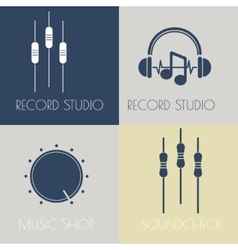 Set of music flat logos vector image