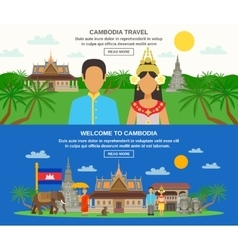 Cambodian culture 2 horizontal banners set vector