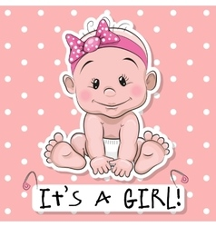 Cute cartoon baby girl vector image
