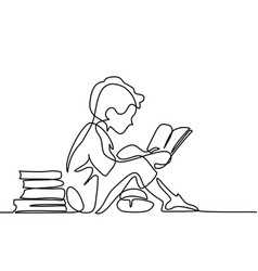 Boy studing with reading book vector