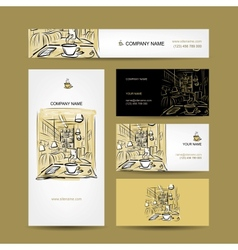 Business cards design coffee house sketch vector image