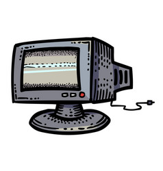 cartoon image of monitor icon computer pc symbol vector image