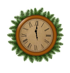 Clock with fir tree vector