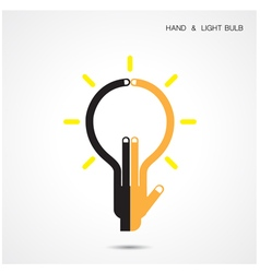 Creative light bulb and hand icon abstract vector