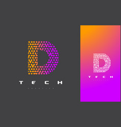 d letter logo technology connected dots letter vector image