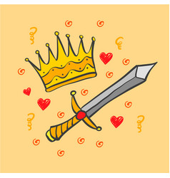 Doodle crown and sword collection vector