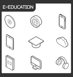 e-education outline isometric icons set vector image vector image