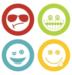 Emoji emoticons white icons vector image vector image