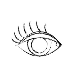Figure vision eye with eyelashes style design vector