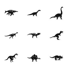 figures dinosaur icons set simple style vector image vector image