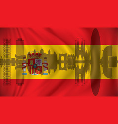 Flag of spain with barcelona skyline vector